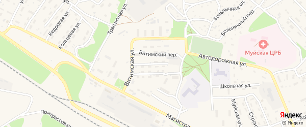 Улица Первопроходцев на карте поселка Таксимо с номерами домов