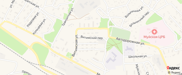 Витимский переулок на карте поселка Таксимо с номерами домов