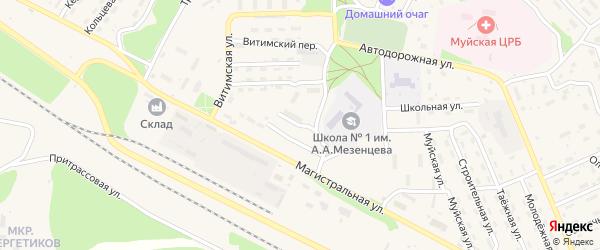 Спортивный переулок на карте поселка Таксимо с номерами домов