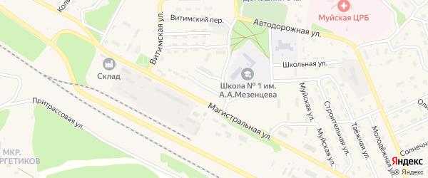 Комсомольская улица на карте поселка Таксимо с номерами домов