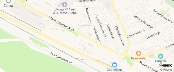 Магистральная улица на карте поселка Таксимо с номерами домов
