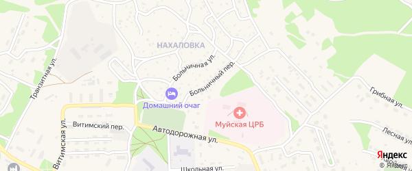 Больничный переулок на карте поселка Таксимо с номерами домов