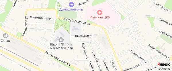 Школьная улица на карте поселка Таксимо с номерами домов