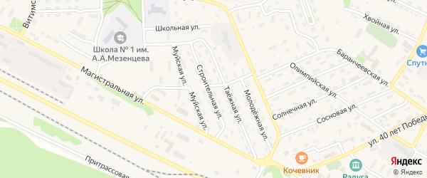 Строительная улица на карте поселка Таксимо с номерами домов