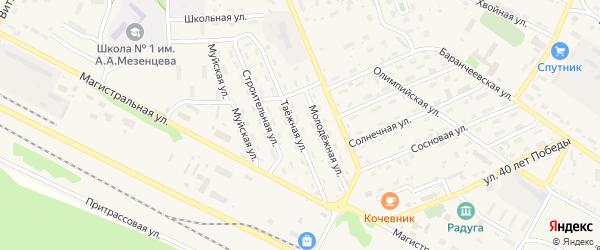 Таежная улица на карте поселка Таксимо с номерами домов