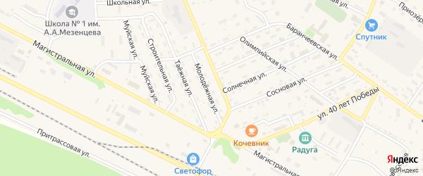Молодежная улица на карте поселка Таксимо с номерами домов