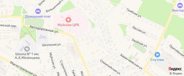 Улица Первостроителей на карте поселка Таксимо с номерами домов