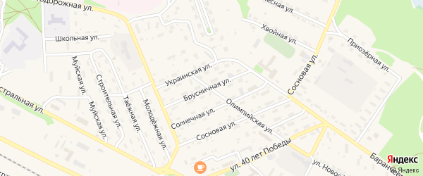 Брусничная улица на карте поселка Таксимо с номерами домов