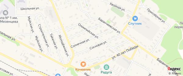 Солнечная улица на карте поселка Таксимо с номерами домов