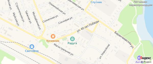 Улица 40 лет Победы на карте поселка Таксимо с номерами домов