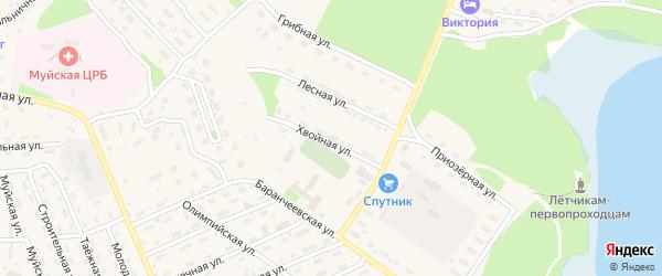 Хвойная улица на карте поселка Таксимо с номерами домов