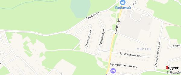 Целинная улица на карте поселка Таксимо с номерами домов
