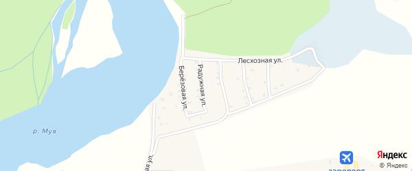 Радужная улица на карте поселка Таксимо с номерами домов