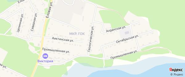 Геологическая улица на карте поселка Таксимо с номерами домов