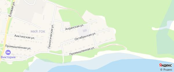 Октябрьская улица на карте поселка Таксимо с номерами домов