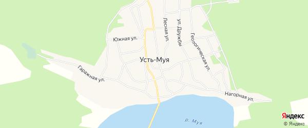 Карта поселка Усть-Муя в Бурятии с улицами и номерами домов