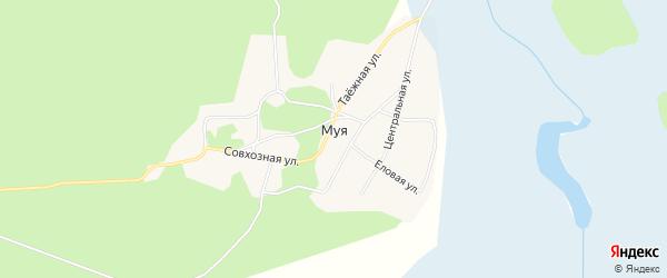 Карта поселка Муя в Бурятии с улицами и номерами домов