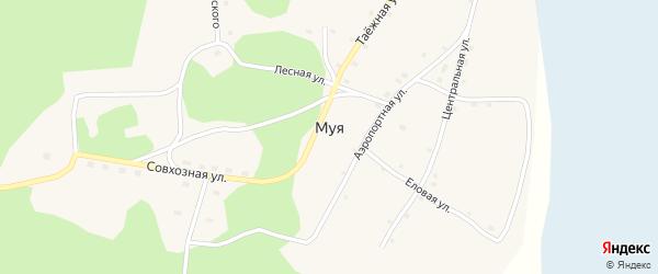Центральная улица на карте поселка Муя с номерами домов