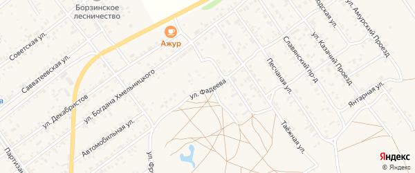 Улица Фадеева на карте Борзи с номерами домов