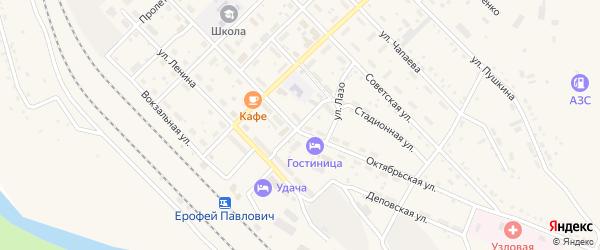 Политотдельский переулок на карте поселка Ерофея Павловича с номерами домов