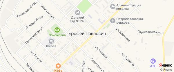 Комсомольский переулок на карте поселка Ерофея Павловича с номерами домов