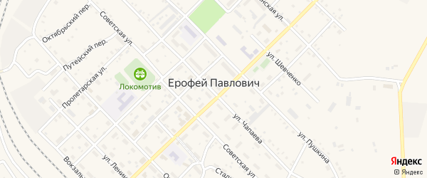 Переулок Карла Маркса на карте поселка Ерофея Павловича с номерами домов