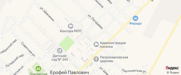 Партизанская улица на карте поселка Ерофея Павловича с номерами домов