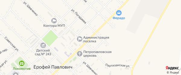 Улица Байдина на карте поселка Ерофея Павловича с номерами домов