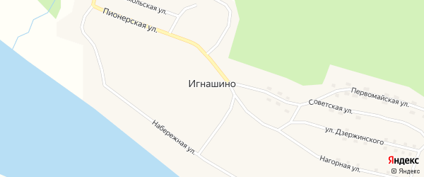 Набережная улица на карте села Игнашино с номерами домов