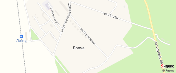 Улица Строителей на карте станции Бам с номерами домов