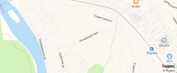 Линейный переулок на карте поселка Уруши с номерами домов