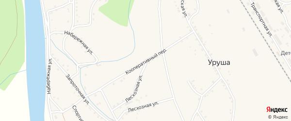 Кооперативный переулок на карте поселка Уруши с номерами домов