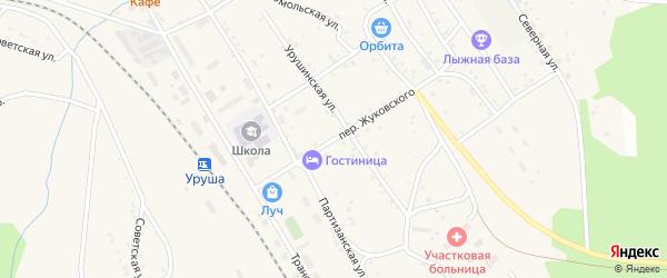 Переулок Жуковского на карте поселка Уруши с номерами домов