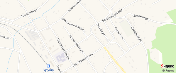Комсомольская улица на карте поселка Уруши с номерами домов