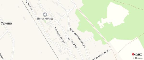 Красноармейская улица на карте поселка Уруши с номерами домов