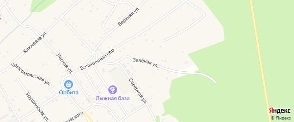 Зеленая улица на карте железнодорожной станции Ульручьи с номерами домов