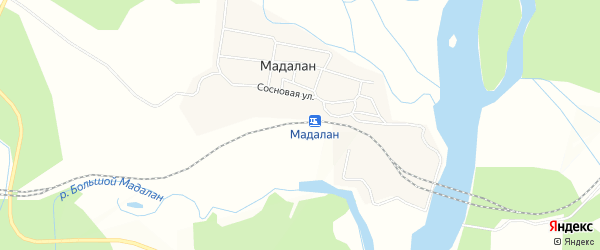Карта железнодорожной станции Мадалана в Амурской области с улицами и номерами домов