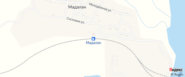 Сосновая улица на карте железнодорожной станции Мадалана с номерами домов
