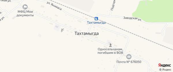 Школьный переулок на карте села Тахтамыгды с номерами домов