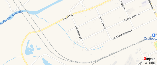 Западная улица на карте Сковородино с номерами домов