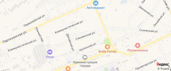 Смоленская улица на карте Сковородино с номерами домов