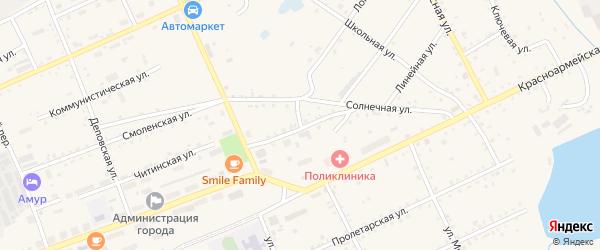 Солнечный переулок на карте Сковородино с номерами домов
