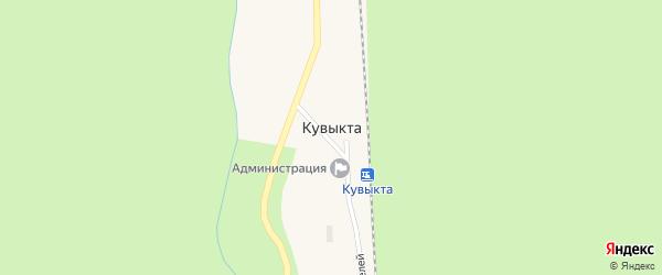 Улица Первостроителей на карте поселка Кувыкты с номерами домов