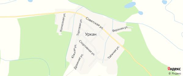 Карта села Уркана в Амурской области с улицами и номерами домов