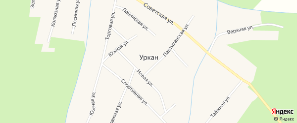 Южная улица на карте села Уркана с номерами домов