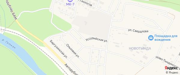 Уссурийская улица на карте Тынды с номерами домов