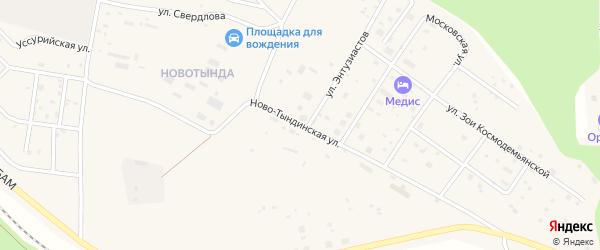 Новотындинская улица на карте Тынды с номерами домов