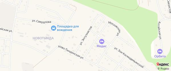 Улица Энтузиастов на карте Тынды с номерами домов