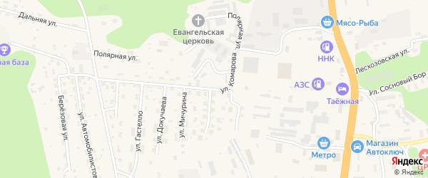 Улица Комарова на карте Тынды с номерами домов