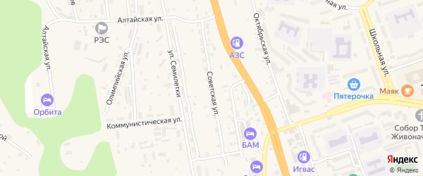 Советская улица на карте Тынды с номерами домов